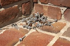 Pile of Screws from Restoration and Repair stock images