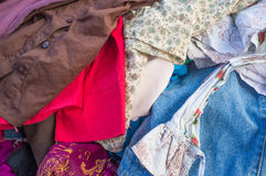 Pile of second hand clothes Royalty Free Stock Photography