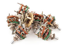 Pile of selector Switch. On white background Stock Photo