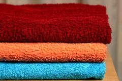 Pile of colored towels. Stock Image