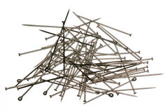 Pile of sewing pins on white backgound Stock Photography