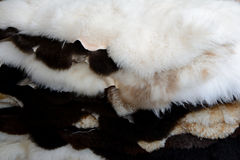 Pile of sheep leathers Royalty Free Stock Photography