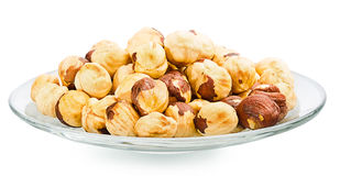 A pile of shell-less hazelnuts, isolated on white background Royalty Free Stock Photo