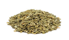 Pile of shelled pumpkin seeds, isolated Stock Photo