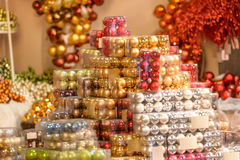 Pile of shiny Christmas balls in boxes Stock Photography