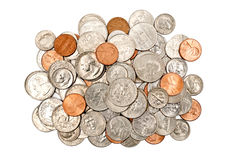 Pile Of Shiny Coins XXXL Isolated Stock Photo