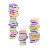 Pile of shiny colorful books, isolated. On white stock photos