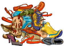 Pile of Shoes. Illustration of pile of assorted shoes stock illustration
