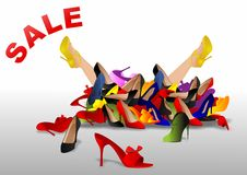 Pile of shoes. Vector illustration of tired woman  buried by  various shoes on sale Stock Photo