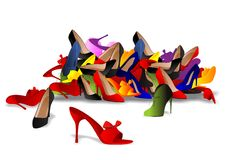 Pile of shoes. Vector illustration of various shoes isolated Stock Images