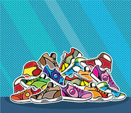 Pile of shoes vector pop art Stock Photo