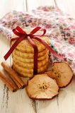 Pile of shortcrust cinnamon cookies with ribbon and bow Royalty Free Stock Image