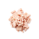 Pile of shredded pizza ham isolated Stock Photos