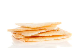 A pile of shrimp crackers. Isolated over white Royalty Free Stock Image