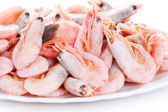 Pile of shrimps on plate Stock Photo