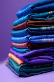 Pile of silk fabric Stock Photos