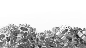 Pile of silver cogwheels Stock Photo