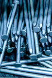 Pile of silver construction nails Stock Images