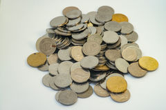 Pile of silver and gold colour of Malaysian coins Royalty Free Stock Photo