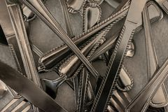 Pile of silverware stock images
