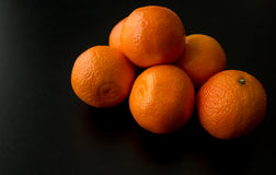 Pile of Six Clementine Oranges, From Side Royalty Free Stock Photography