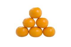 Pile of Six Orange Fruit isolated on white background Stock Photos