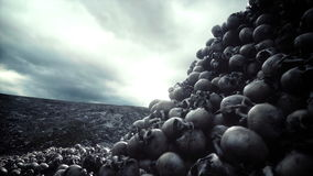 Pile of skulls. Apocalypse and hell concept. Realistic cinematic 4k animation.