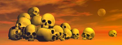 Pile of skulls - 3D render. Pile of skulls in cloudy red background with full moon Royalty Free Stock Photo