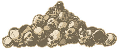 Pile of Skulls Vector Illustration. A vector illustration of pile of cracked and broken skulls. Makes a great hard core background stock illustration