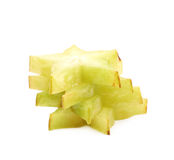 Pile of sliced carambola fruits isolated Royalty Free Stock Photo