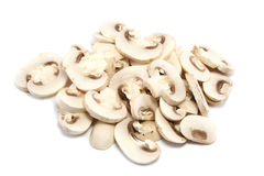 Pile of Sliced Mushrooms Closer. Slightly closer in view of a pile of sliced white button Mushrooms Royalty Free Stock Photography