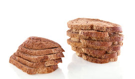 A pile of slices brown bread Royalty Free Stock Images