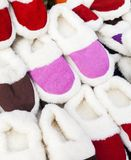 Pile slippers exposed to a fair Royalty Free Stock Photos
