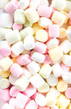 A pile of small colored puffy marshmallows may use as background Stock Photo