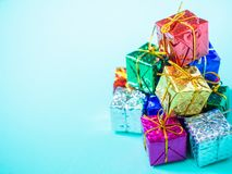 Small colorful gift boxes royalty free stock photos