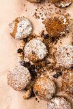 Pile of small cookies on brown paper parchament Royalty Free Stock Photo