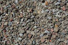 Pile of a small crushed stones background. Pile of a small crushed stones rocky background view at construction site stock photography