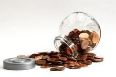 A pile of small money. Stock Image