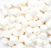 A pile of small white puffy marshmallows on white background. Cl Stock Image