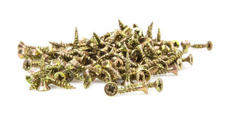 Pile of small wood screws Stock Images