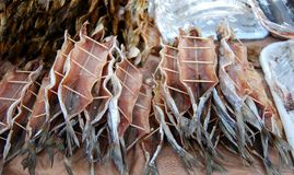 The pile of smoked fish. On the flat surface, close up Royalty Free Stock Photos