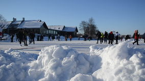 Pile snow active sport leisure people skating rink stock video footage