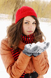 Pile of snow in the hands of Stock Photography