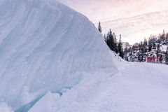 Pile of snow on the side of the road Royalty Free Stock Photo