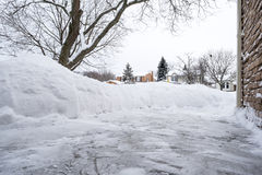 Pile of Snow in a Suburb Stock Images