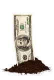 Pile of Soil and Dollar Bill Stock Images