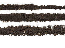 Pile of soil isolated on white Stock Photos