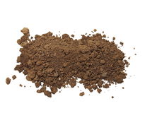 Pile of soil isolated on white Stock Photo