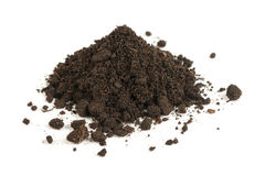 Pile of Soil Isolated on White Background Stock Photo
