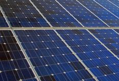 Pile solari blu Fotografie Stock